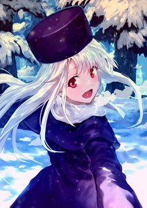 Rating: Safe Score: 3 Tags: 1girl :d bob_(biyonbiyon) coat fate/stay_night fate_(series) floating_hair forest hat highres illyasviel_von_einzbern long_hair looking_at_viewer looking_back nature open_mouth outdoors purple_coat purple_hat red_eyes scarf silver_hair smile snow solo steam white_scarf winter_clothes winter_coat User: DMSchmidt