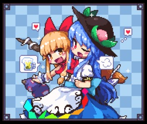 Rating: Safe Score: 1 Tags: 2girls alcohol beer beer_mug blue_hair blue_skirt blush bow brown_hair checkered checkered_background food frame fruit gourd hat heart hinanawi_tenshi horn ibuki_suika kumamoto_(bbtonhk2) leaf long_hair lowres multiple_girls neck_ribbon one_eye_closed open_mouth peach pixel_art puffy_short_sleeves puffy_sleeves red_eyes red_ribbon ribbon shirt short_sleeves skirt smile speech_bubble thought_bubble touhou_project white_shirt wrist_cuffs User: DMSchmidt