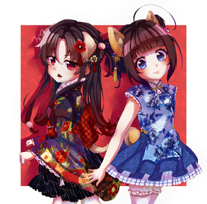 Rating: Safe Score: 1 Tags: 2girls :3 absurdres animal_ears bangs black_kimono black_skirt blue_dress blue_eyes blue_skirt blunt_bangs blush brown_hair checkered china_dress chinese_clothes closed_mouth dog_ears dog_girl dog_tail dress eyebrows_visible_through_hair floral_print gradient_hair hair_between_eyes head_tilt highres hinatsuru_ai japanese_clothes kimono long_hair looking_at_viewer looking_to_the_side multicoloured_hair multiple_girls obi parted_lips pleated_skirt print_dress print_kimono red_eyes red_hair ryuuou_no_oshigoto! sash signature skirt tail thighhighs tung_tung unmoving_pattern white_legwear yashajin_ai User: Domestic_Importer