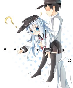 Rating: Safe Score: 0 Tags: 1boy 1girl ? admiral_(kantai_collection) anchor_symbol bangs black_hat black_legwear black_skirt blue_eyes blue_hair blush carrying closed_mouth eyebrows_visible_through_hair faceless faceless_male hair_between_eyes hat hibiki_(kantai_collection) highres jacket kantai_collection kushida_you long_sleeves looking_down military military_hat military_uniform naval_uniform neckerchief no_shoes outstretched_arm over-kneehighs pants peaked_cap pleated_skirt polka_dot polka_dot_background red_neckwear school_uniform serafuku shaded_face shirt skirt sleeves_past_wrists thighhighs uniform walking white_background white_hat white_jacket white_pants white_shirt User: Domestic_Importer