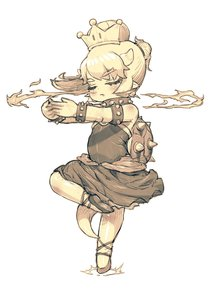 Rating: Safe Score: 6 Tags: 1girl ballerina ballet blush borrowed_character bowsette bracelet breathing_fire brooch closed_eyes collar dress en_pointe eyebrows_visible_through_hair feral_lemma fingers_together fire focused highres horns jewellery leg_up mario_(series) new_super_mario_bros._u_deluxe pointe_shoes pointy_ears ponytail sepia shiny shiny_clothes shiny_hair shiny_skin short_eyebrows short_hair solo spiked_bracelet spiked_collar spiked_shell spikes spinning standing standing_on_one_leg strapless strapless_dress super_crown tail toddlercon User: DMSchmidt