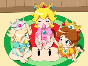 Rating: Safe Score: 4 Tags: 3girls baby baby_daisy baby_peach bare_legs barefoot blonde_hair blue_eyes blush blush_stickers brown_hair closed_eyes crown eyebrows_visible_through_hair eyes_visible_through_hair feet full_body hair_over_one_eye highres looking_up mario_(series) multiple_girls mushroom nintendo pacifier rosetta_(mario) sitting soles toes umejiru User: Domestic_Importer