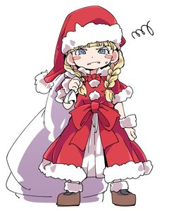 Rating: Safe Score: 1 Tags: 1girl angry bag blonde_hair blue_eyes bracelet braid christmas dragon_quest dragon_quest_xi earrings full_body gloves hat ixy jewellery long_hair looking_at_viewer lowres santa_costume santa_hat simple_background solo twin_braids veronica_(dq11) white_background User: DMSchmidt