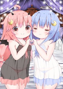 Rating: Safe Score: 2 Tags: 2girls =_= angel_wings bangs bare_arms bare_shoulders bed_sheet black_camisole black_wings blue_bra blue_hair blue_panties blush bra breasts bunny_hair_ornament camisole closed_eyes closed_mouth collarbone crescent crescent_hair_ornament demon_horns demon_wings eyebrows_visible_through_hair facing_viewer feathered_wings hair_between_eyes hair_ornament halo heart heart_hands heart_hands_duo highres horns kantai_collection long_hair looking_at_viewer low-tied_long_hair mugichoko_(mugi_no_choko) multiple_girls navel pantsu pillow pink_bra pink_hair pink_pantsu polka_dot polka_dot_bra polka_dot_panties red_eyes see-through sidelocks small_breasts smile standing sweat underwear uzuki_(kantai_collection) very_long_hair wavy_mouth white_camisole white_wings wings yayoi_(kantai_collection) User: DMSchmidt