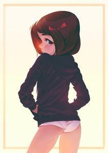 Rating: Safe Score: 4 Tags: 1girl alkemanubis brown_eyes brown_hair cowboy_shot from_behind hair_ribbon hands_in_pockets highres hood hoodie legs_apart looking_at_viewer looking_back no_pants original pantsu ribbon short_hair simple_background solo standing underwear white_pantsu yellow_background User: DMSchmidt