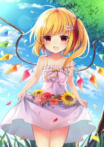 Rating: Safe Score: 0 Tags: 1girl :d alternate_costume bangs bare_arms bare_shoulders blonde_hair blue_sky blush breasts cloud collarbone cowboy_shot crystal day dress eyebrows_visible_through_hair flandre_scarlet flower frilled_dress frills grass hair_flower hair_ornament hair_ribbon lens_flare looking_at_viewer no_hat no_headwear open_mouth orange_flower outdoors petals pink_flower red_eyes red_flower red_ribbon red_rose ribbon rose rose_petals ruhika see-through_silhouette skirt_hold sky small_breasts smile solo standing strap_slip sunflower thighs touhou_project tree white_dress white_flower wings User: DMSchmidt