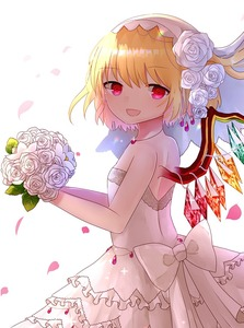 Rating: Safe Score: 2 Tags: 1girl :d alternate_costume bangs blonde_hair bouquet bow breasts bridal_veil bride cowboy_shot dress eyebrows_visible_through_hair flandre_scarlet flower frilled_skirt frills from_side glint hair_between_eyes hair_flower hair_ornament holding holding_bouquet jewellery layered_skirt looking_at_viewer necklace open_mouth pearl petals red_eyes rose sakipsakip short_hair side_ponytail simple_background skirt sleeveless sleeveless_dress small_breasts smile solo strapless strapless_dress touhou_project veil wedding_dress white_background white_bow white_dress white_flower white_rose wings User: DMSchmidt