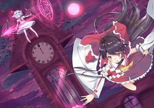Rating: Safe Score: 1 Tags: 2girls absurdres ascot bat bat_wings black_hair blue_hair blush clock detached_sleeves dress dutch_angle fighting flying full_moon gohei hair_ribbon hair_tubes hakurei_reimu hat hat_ribbon highres izayoi_cha japanese_clothes long_hair long_sleeves magic_circle miko mob_cap moon multiple_girls night night_sky open_mouth outstretched_arm ponytail puffy_sleeves red_eyes red_moon remilia_scarlet ribbon shirt short_hair short_sleeves skirt skirt_set sky spear_the_gungnir team_shanghai_alice touhou_project wide_sleeves wings User: DMSchmidt