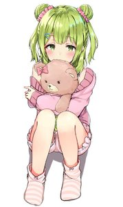 Rating: Safe Score: 1 Tags: 1girl bangs covered_mouth double_bun eyebrows_visible_through_hair green_eyes green_hair hair_ornament hairclip jacket long_hair long_sleeves looking_at_viewer loose_socks morinaka_kazaki nijisanji no_shoes object_hug off_shoulder pink_jacket pink_shorts racchi. shadow short_shorts shorts side_bun sitting socks solo striped striped_legwear stuffed_animal stuffed_toy teddy_bear virtual_youtuber white_background User: DMSchmidt