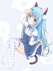 Rating: Safe Score: 2 Tags: 1girl amashiro_natsuki animal_ears arm_up blue_eyes blue_hair cat_ears cat_tail juliet_sleeves long_hair long_sleeves looking_at_viewer original puffy_sleeves shirt sitting skirt solo striped striped_legwear tail thighhighs thighs very_long_hair virgin_killer_outfit zettai_ryouiki User: DMSchmidt