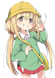 Rating: Safe Score: 2 Tags: 1girl bag blonde_hair blush brown_eyes clenched_teeth eyebrows_visible_through_hair futaba_anzu grin hair_between_eyes hat idolmaster idolmaster_cinderella_girls ixy kindergarten_bag kindergarten_uniform long_hair long_sleeves looking_at_viewer low_twintails salute school_hat school_uniform simple_background smile solo teeth twin_tails white_background User: Domestic_Importer