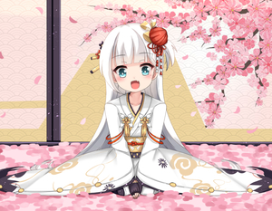 Rating: Safe Score: 4 Tags: 1girl :d azur_lane bangs bird black_gloves blue_eyes blush cherry_blossoms collarbone eyebrows_visible_through_hair fang fingerless_gloves gloves hair_ornament head_tilt highres indoors japanese_clothes kagami_mochi kimono long_hair long_sleeves looking_at_viewer mole mole_under_eye nengajou new_year open_mouth petals print_kimono seiza shoukaku_(azur_lane) silver_hair sitting smile solo ty_kaede very_long_hair white_kimono wide_sleeves younger User: DMSchmidt