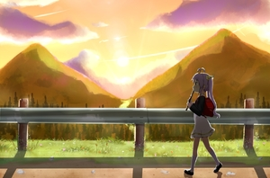 Rating: Safe Score: 3 Tags: 1girl antenna_hair backlighting backpack bag black_footwear blush cloud dress eyebrows_visible_through_hair flower from_side full_body grass hill holding holding_instrument instrument kneehighs lavender_hair long_hair mary_janes midriff miyauchi_renge music non_non_biyori off-shoulder_shirt outdoors playing_instrument profile railing randoseru recorder river shirt shoes silhouette sky solo sun sunset tree twin_tails twintails_(mantids) walking white_dress white_legwear User: DMSchmidt
