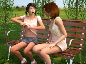 Rating: Questionable Score: 0 Tags: 2girls 3dcg bench black_hair blue_eyes brown_eyes covered_nipples denim_skirt dress lolicon_3d_images miniskirt multiple_girls outdoors photorealistic red_hair shirt_lift short_dress short_hair skirt small_breasts tied_hair tree twin_tails vinput User: Software