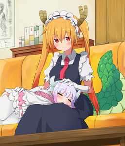 Rating: Safe Score: 0 Tags: 10s 2girls apron bangs blunt_bangs blush book capelet closed_eyes collared_shirt couch door dragon_girl dragon_horns dragon_tail dress eyebrows_visible_through_hair frilled_dress frills gloves half-closed_eyes hand_on_another's_head hand_on_another's_hip headdress horns indoors kanna_kamui kobayashi-san_chi_no_maidragon lavender_hair living_room long_hair lying maid maid_headdress multiple_girls necktie noa_(nagareboshi) on_lap open_mouth orange_hair petting poster_(object) puffy_sleeves red_eyes shirt short_sleeves sitting sleeping slit_pupils smile table tail thighhighs tooru_(maidragon) twin_tails white_legwear User: Domestic_Importer