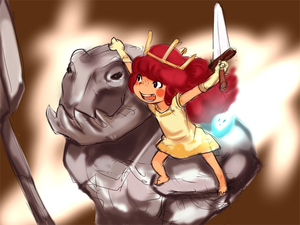 Rating: Safe Score: 1 Tags: 1girl barefoot blush_stickers child_of_light_(game) crown dress e10 elbow_gloves freckles gloves golem_(child_of_light) igniculus long_hair missing_tooth open_mouth pink_hair princess_aurora smile sword weapon wisp User: DMSchmidt