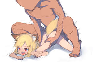 Rating: Explicit Score: 5 Tags: 1boy 1girl :o absurdres all_fours animal_ears bangs blonde_hair blush boy_on_top doggystyle faceless faceless_male fox_ears fox_tail fukutchi full_body hair_ornament hairclip highres motion_lines nude original red_eyes sex short_hair simple_background squatting tail tears top-down_bottom-up torso_grab User: Domestic_Importer
