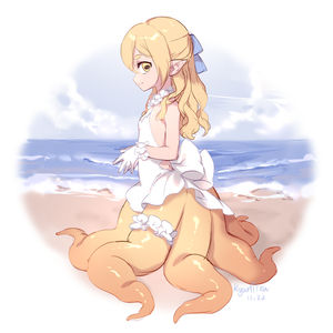 Rating: Safe Score: 1 Tags: 1girl bangs bare_shoulders beach blonde_hair blue_ribbon closed_mouth dated dress from_side full_body hair_between_eyes hair_ribbon horizontal_pupils kyuri_tizu leg_garter long_hair looking_at_viewer looking_to_the_side monster_girl ocean original outdoors own_hands_together pointy_ears ribbon sand scylla short_eyebrows signature sleeveless sleeveless_dress smile solo standing syrene_(kyuri_tizu) tentacles white_dress User: DMSchmidt
