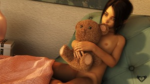 Rating: Questionable Score: 10 Tags: 1girl 3dcg aresta blanket brown_eyes brown_hair flat_chest navel nipples nude photorealistic pose pussy pussy_peek shadow sitting stuffed_animal stuffed_toy User: fantasy-lover