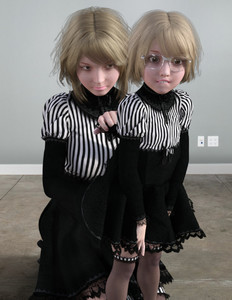 Rating: Questionable Score: 9 Tags: 2girls 3dcg age_difference black_dress blonde_hair dress flat_chest glasses multiple_girls original photorealistic self_upload short_hair skeleton_(3d-artist) surprised thighhighs yuri User: loli4ever