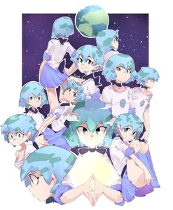 Rating: Safe Score: 2 Tags: 1girl absurdres bangs black_choker blue_hair blue_skirt choker closed_mouth convenient_leg earrings earth earth-chan glowing green_eyes green_hair highres jewellery kneehighs legs_up miniskirt mr.psina multicoloured_hair multiple_views nasa_logo off_shoulder original print_shirt profile purple_legwear purple_skirt shaded_face shirt short_hair short_sleeves single_bare_shoulder sitting skirt smile space sun tareme two-tone_hair v-shaped_eyebrows white_shirt User: DMSchmidt