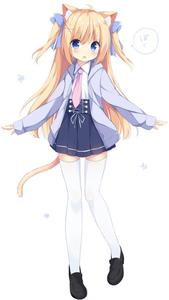 Rating: Safe Score: 5 Tags: 1girl :o ahoge animal_ears bangs black_footwear blonde_hair blue_eyes blush cat_ears cat_tail eyebrows_visible_through_hair full_body hair_ornament hair_ribbon image_sample imageboard_sample jacket loafers long_hair long_sleeves looking_at_viewer mimura_zaja necktie one_leg_raised open_mouth original pink_neckwear pleated_skirt ribbon shoes simple_background skirt solo speech_bubble standing standing_on_one_leg tail thighhighs two_side_up white_background white_legwear wing_collar x_hair_ornament zettai_ryouiki User: zombiecraft42