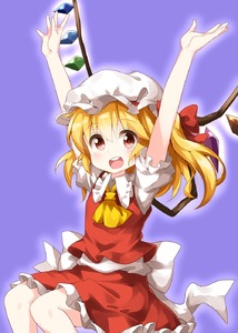 Rating: Safe Score: 0 Tags: 1girl :d arms_up ascot blonde_hair flandre_scarlet frilled_shirt_collar frills hair_between_eyes hat highres long_hair looking_at_viewer mob_cap open_mouth puffy_short_sleeves puffy_sleeves purple_background red_eyes red_skirt red_vest round_teeth ruu_(tksymkw) shirt short_sleeves side_ponytail simple_background skirt skirt_set smile solo teeth touhou_project vest white_shirt yellow_neckwear User: DMSchmidt