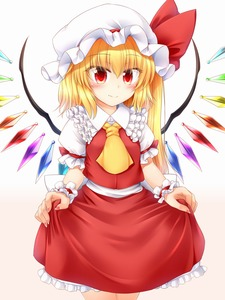 Rating: Safe Score: 1 Tags: 1girl ascot blonde_hair blush closed_mouth eyebrows_visible_through_hair flandre_scarlet gradient gradient_background hat highres lifted_by_self long_hair m9kndi red_eyes red_skirt side_ponytail skirt solo touhou_project underwear wings yellow_neckwear User: Domestic_Importer