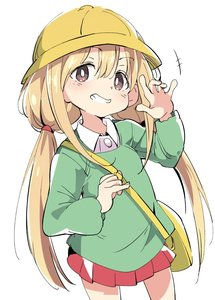 Rating: Safe Score: 1 Tags: 1girl bag blonde_hair blush brown_eyes clenched_teeth eyebrows_visible_through_hair futaba_anzu grin hair_between_eyes hat idolmaster idolmaster_cinderella_girls ixy kindergarten_bag kindergarten_uniform long_hair long_sleeves looking_at_viewer low_twintails salute school_hat school_uniform simple_background smile solo teeth twin_tails white_background User: Domestic_Importer