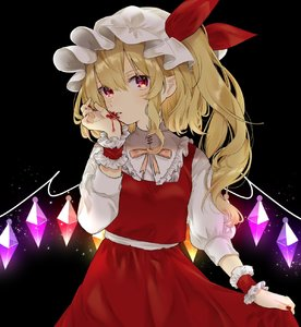 Rating: Safe Score: 1 Tags: 1girl black_background blonde_hair blood cowboy_shot eyebrows_visible_through_hair flandre_scarlet hat highres licking_blood light_particles looking_at_viewer nail_polish red_eyes red_nails red_skirt simple_background skirt solo touhou_project vampire wings wrist_cuffs yedan yellow_neckwear User: DMSchmidt