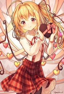 Rating: Safe Score: 1 Tags: 1girl alternate_costume artist_name black_legwear blonde_hair bow box box_of_chocolates breasts cowboy_shot flandre_scarlet heart heart-shaped_box highres holding holding_box looking_at_viewer neck_ribbon neno_(nenorium) no_hat no_headwear pantyhose pink_bow plaid plaid_skirt red_eyes red_neckwear red_ribbon red_skirt ribbon shirt side_ponytail skirt small_breasts smile solo standing suspender_skirt suspenders touhou_project twitter_username valentine white_shirt wings User: DMSchmidt