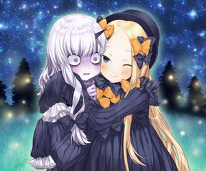 Rating: Safe Score: 1 Tags: 2girls ;) abigail_williams_(fate/grand_order) bags_under_eyes bangs black_bow black_dress black_hat blonde_hair blue_eyes blush bow closed_mouth dress fate/grand_order fate_(series) fireflies forehead hair_bow hat highres horn hug lavinia_whateley_(fate/grand_order) long_hair long_sleeves multiple_girls night night_sky one_eye_closed orange_bow outdoors pale_skin parted_bangs parted_lips pine_tree pink_eyes polka_dot polka_dot_bow sidelocks silver_hair sky sleeves_past_fingers sleeves_past_wrists smile star_(sky) starry_sky tree very_long_hair wide-eyed yukihara_nako User: Domestic_Importer