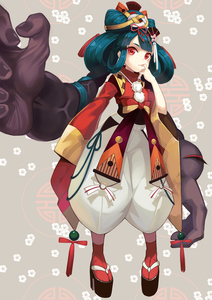 Rating: Safe Score: 1 Tags: 1girl extra_arms flower full_body fur_trim futakuchi-onna futakuchi-onna_(onmyoji) green_hair grey_background hair_flower hair_ornament highres japanese_clothes long_hair onmyoji red_eyes sandals simple_background solo twin_tails xuan_chu User: DMSchmidt