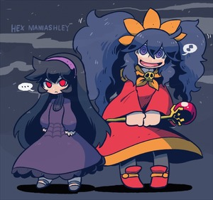 Rating: Safe Score: 1 Tags: ... 2girls ashley ashley_(warioware)_(cosplay) black_hair character_name cosplay costume_switch dress hairband hex_maniac_(pokemon) hex_maniac_(pokemon)_(cosplay) made_in_wario multiple_girls pokemon pokemon_(game) pokemon_xy purple_eyes purple_hair rariatto_(ganguri) red_eyes smile staff thought_bubble twin_tails User: DMSchmidt