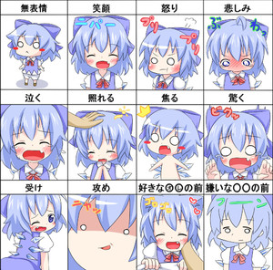 Rating: Safe Score: 0 Tags: /\/\/\ 1girl :d ^_^ bangs blue_bow blue_dress blue_eyes blue_hair blush blush_stickers bow cirno closed_mouth collared_shirt dress expression_chart expressions eyebrows_visible_through_hair makuran open_mouth smile touhou_project User: Domestic_Importer