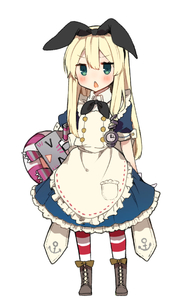 Rating: Safe Score: 1 Tags: 10s 1girl >_< alice_(wonderland) alice_(wonderland)_(cosplay) alice_in_wonderland anchor_symbol apron blonde_hair blush boots clock_hair_ornament closed_eyes cosplay cross-laced_footwear full_body green_eyes hair_ribbon ikeuchi_tanuma kantai_collection long_hair necktie rensouhou-chan ribbon shimakaze_(kantai_collection) simple_background standing striped striped_legwear triangle_mouth white_background User: Domestic_Importer