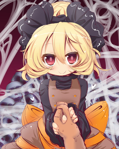 Rating: Safe Score: 0 Tags: 1girl blonde_hair bow brown_dress dress glowing glowing_eyes hair_bow holding_hand kurodani_yamame long_sleeves looking_at_viewer muuba pov pov_hands red_eyes shirt silk skull_pile smile solo_focus spider_web team_shanghai_alice touhou_project wide_sleeves User: DMSchmidt