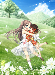 Rating: Safe Score: 0 Tags: 2girls :d absurdres bare_arms bare_shoulders blue_eyes blue_sky blush brown_footwear brown_hair cloud cura daisy day digital_version dress emi_(monobeno) enty_reward eye_contact eyebrows_visible_through_hair field flower forest grass hair_ornament highres hug japanese_clothes kimono long_hair long_sleeves looking_at_another lose monobeno multicoloured_hair multiple_girls nature no_socks obi one_eye_closed open_mouth outdoors paid_reward petals red_eyes red_hair red_kimono sandals sash sawai_natsuha see-through shoes short_hair sky sleeveless sleeveless_dress smile standing standing_on_one_leg sundress sunlight tree two-tone_hair two_side_up white_dress white_legwear yukata User: Domestic_Importer