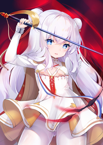 Rating: Safe Score: 1 Tags: +_+ 1girl absurdres arm_up azur_lane bangs blue_eyes blush breasts cannian_dada double_bun dress eyebrows_visible_through_hair fingernails hair_between_eyes highres holding holding_sword holding_weapon le_malin_(azur_lane) long_hair long_sleeves nail_polish pantyhose parted_lips pleated_dress purple_nails sabre silver_hair sleeves_past_wrists small_breasts solo sword thighband_pantyhose underboob very_long_hair weapon white_dress white_legwear User: DMSchmidt