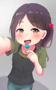 Rating: Safe Score: 3 Tags: 1girl black_hair blush bow candy collarbone eyebrows_visible_through_hair flat_chest food hair_ornament heart heart_hair_ornament highres holding_lollipop lollipop looking_at_viewer open_mouth original self_shot short_sleeves solo tanukikouji_midori tongue tongue_out User: Domestic_Importer