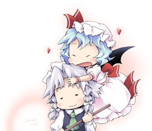 Rating: Safe Score: 0 Tags: 2girls :3 =_= ascot bamboo bat_wings blue_dress blue_hair blush chibi closed_eyes dress fang flying ham_(points) hat heart hug izayoi_sakuya maid multiple_girls open_mouth pink_dress remilia_scarlet silver_hair team_shanghai_alice touhou_project wings wristband User: DMSchmidt