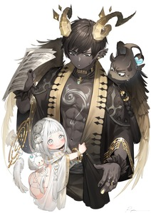 Rating: Safe Score: 2 Tags: 1boy 1girl abs age_difference angel_and_devil artist_name ass back_tattoo backless_outfit bangle black_hair black_nails black_skin blush bracelet brown_wings chest chest_tattoo clothes_grab collar cowboy_shot creature curled_horns demon_boy detached_wings ear_piercing earrings grey_eyes halo height_difference highres horns jewellery looking_at_another looking_at_viewer looking_down looking_up low_wings multicoloured multicoloured_nails musical_note musical_note_print musical_staff_print nail_polish navel necklace open_clothes open_robe original pantsu parted_lips piercing pointy_ears ring robe ryota_(ry_o_ta) sheet_music signature standing sweatdrop tail tassel tattoo tearing_up toned toned_male treble_clef tribal_tattoo underwear v-shaped_eyebrows wavy_mouth white_background white_hair white_nails white_pantsu white_wings wide_sleeves wings User: DMSchmidt