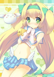Rating: Safe Score: 3 Tags: 1girl :x background bare_shoulders bell blazblue blonde_hair blush bow checkered checkered_background gloves green_eyes hair_bow hairband heart heart-shaped_pupils heart_background highres long_hair looking_at_viewer low-tied_long_hair midriff navel platinum_the_trinity quad_tails ribbon skirt solo symbol-shaped_pupils taiki_ken twin_tails two_side_up very_long_hair User: DMSchmidt