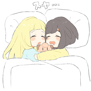 Rating: Safe Score: 2 Tags: 2girls bangs black_hair blanket blonde_hair blush_stickers braid character_doll chibi clefairy closed_eyes drooling from_above lillie_(pokemon) long_hair long_sleeves lying mizuki_(pokemon_sm) multiple_girls on_side pajamas pillow pokemon pokemon_(game) pokemon_sm short_hair sleeping translation_request twin_braids unapoppo under_covers User: DMSchmidt