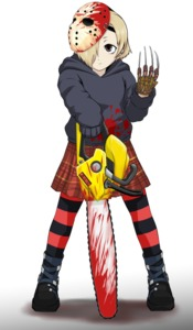 Rating: Safe Score: 1 Tags: 1girl a_nightmare_on_elm_street black_footwear black_hoodie black_legwear blood bloody_weapon chainsaw cosplay freddy_krueger freddy_krueger_(cosplay) friday_the_13th hockey_mask horizontal-striped_legwear idolmaster idolmaster_cinderella_girls jason_voorhees jason_voorhees_(cosplay) long_sleeves red_legwear shirasaka_koume solo striped striped_legwear todoroki_convoy weapon white_background User: DMSchmidt