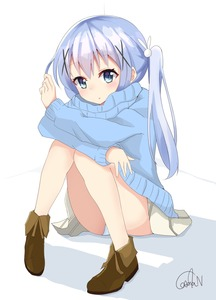 Rating: Safe Score: 0 Tags: 1girl :o alternate_hairstyle bangs blue_eyes blue_sweater blush boots brown_footwear bunny_hair_ornament casual eyebrows_visible_through_hair gochuumon_wa_usagi_desu_ka? hair_ornament hair_tousle hairclip highres kafuu_chino knees_together_feet_apart kousaka_nobaku light_blue_hair long_hair long_sleeves looking_at_viewer miniskirt panchira pantsu pantyshot_(sitting) parted_lips pleated_skirt shadow signature sitting skirt solo sweater twin_tails underwear upskirt white_background white_pantsu white_skirt x_hair_ornament User: DMSchmidt