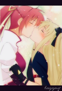 Rating: Safe Score: 1 Tags: 2girls armband blonde_hair blush breasts cape closed_eyes cowtits fate_testarossa gloves hair_ornament hair_ribbon highres kiss large_breasts long_hair lyrical_nanoha mahou_shoujo_lyrical_nanoha mahou_shoujo_lyrical_nanoha_a's multiple_girls ponytail ribbon signum simple_background size_difference small_breasts sparkle sparkle_background user_nuxc2344 yuri User: DMSchmidt