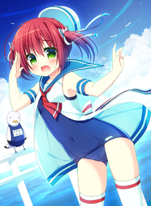 Rating: Safe Score: 1 Tags: 1girl bird cloud cowboy_shot dress dutch_angle fang green_eyes hanamiya_natsuka hat hat_removed headwear_removed open_clothes open_mouth original red_hair sailor_dress salute school_swimsuit seagull short_hair solo standing swimsuit thighhighs twin_tails white_legwear User: DMSchmidt
