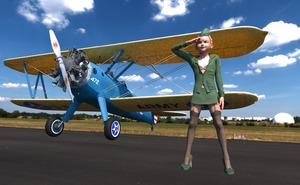 Rating: Questionable Score: 3 Tags: 1girl 3dcg airplane blonde_hair cumtroika flat_chest high_heels outdoors photorealistic pose salute shadow standing stewardess thighhighs us_army zettai_ryouiki User: fantasy-lover
