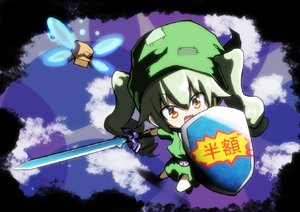 Rating: Safe Score: 0 Tags: 1girl anchovy bangs black_gloves black_ribbon blue_sky box cardboard_box cloud cloudy_sky cosplay day drill_hair eyebrows_visible_through_hair girls_und_panzer gloves green_hair green_headwear green_tunic hair_ribbon holding holding_shield holding_sword holding_weapon jinguu_(4839ms) link link_(cosplay) long_hair looking_at_viewer master_sword navi navi_(cosplay) open_mouth patch reflection ribbon shield sky smile solo standing sword the_legend_of_zelda tunic twin_drills twin_tails weapon younger User: DMSchmidt